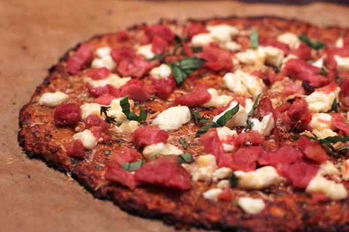 grain-free cauliflower and sweet potato crust pizza