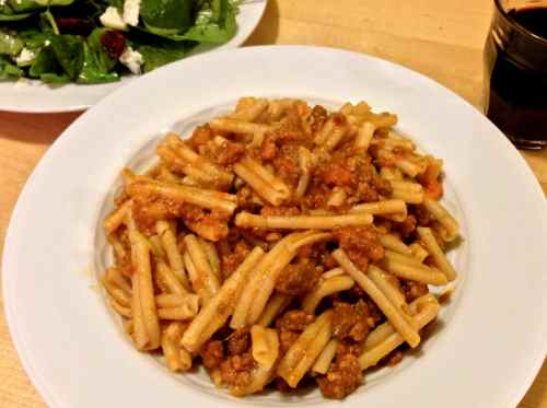Pasta Bolognese. Long-simmered perfection in a plate of pasta.