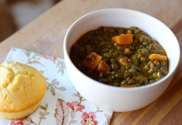 Vegetarian Curry Green Lentil and Sweet Potato Soup